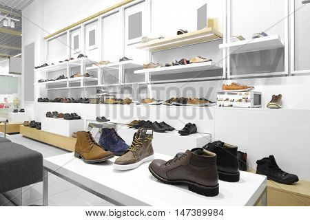 Interior Of Shoe Store In Modern European Mall