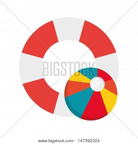 flat design life preserver and beach ball icon vector illustration