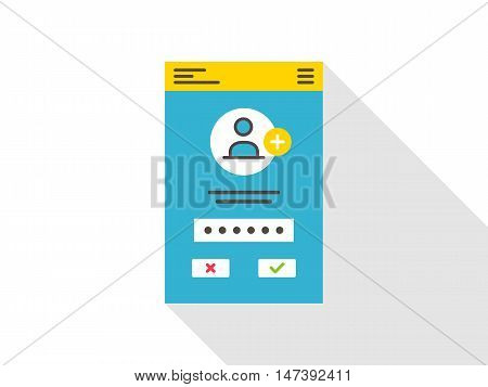 Login access mobile webpage vector illustration. Sign up log in sign in interface technology creative concept. Simple registration submit form frame box graphic design.