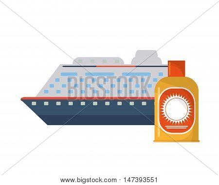 flat design cruise ship and sun block icon vector illustration