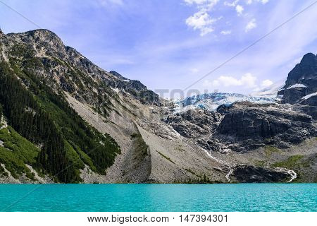 Photo of melting glacier at cloudy summer day.