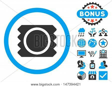Condom icon with bonus pictogram. Glyph illustration style is flat iconic bicolor symbols, blue and gray colors, white background.