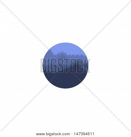 Isolated abstract blue color round shape mountain with trees logo. Natural environment silhouette logotype. Misty landscape icon. Twilight vector illustration