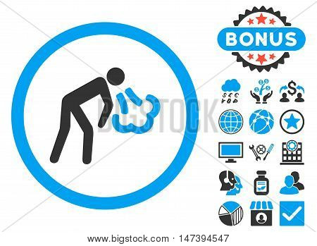 Cough icon with bonus symbols. Glyph illustration style is flat iconic bicolor symbols, blue and gray colors, white background.