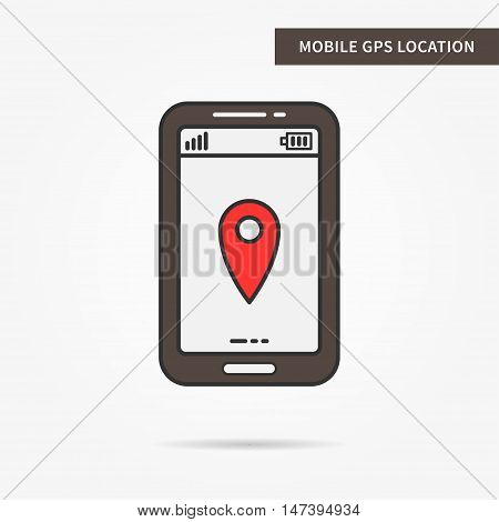 Mobile GPS navigation vector icon. Linear phone GPS location illustration. Flat GPS pin sign. Creative GPS positioning graphic design. GPS marker pointer symbol. Phone online GPS technology.