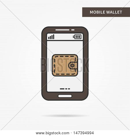 Linear mobile wallet app. Flat web purse. Mobile wallet billfold symbol. Creative concept phone finance wallet graphic design banner. Vector payment technology sign illustration.