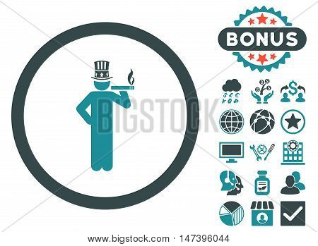 American Capitalist icon with bonus images. Vector illustration style is flat iconic bicolor symbols, soft blue colors, white background.