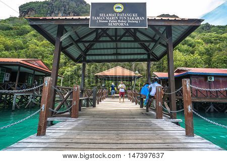 Semporna,Sabah-Sep 10,2016:Entrance gate to the Tun Sakaran Marine Park,also known as Semporna Islands Park.Bohey Dulang Island is one of the most popular islands in Tun Sakaran Marine Park Semporna.