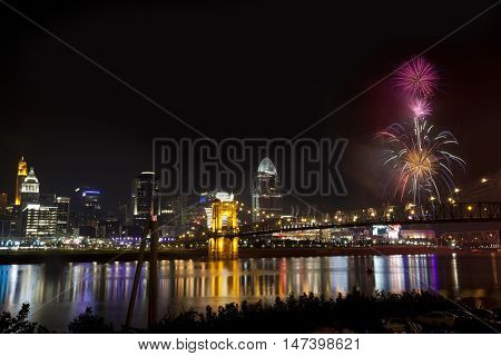 Fireworks over the Ohio River in cincinnati, Ohio