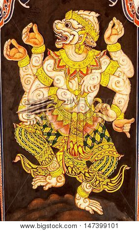 Hanuman painting on the wall. This is typical of Thai traditional art. And No any trademark or restrict matter in this photo.