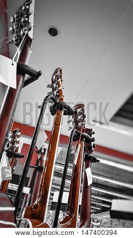 Guitar music instruments. Classic guitar. Playing guitar