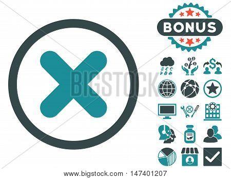 Cancel icon with bonus images. Vector illustration style is flat iconic bicolor symbols, soft blue colors, white background.
