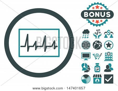 Cardiogram icon with bonus pictogram. Vector illustration style is flat iconic bicolor symbols, soft blue colors, white background.