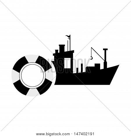 flat design fishing boat and  life preserver icon vector illustration