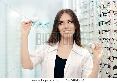 Happy Optician Choosing between Glasses and Contact Lenses