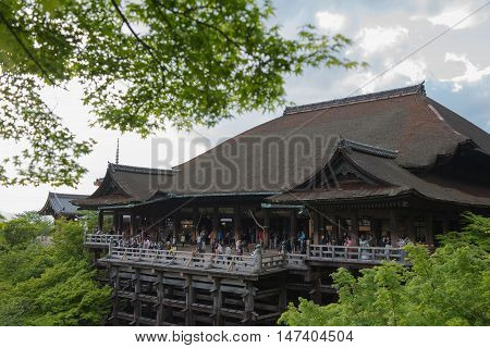 KYOTO, JAPAN - APRIL 29 , 2016 : Travel Kiyomizu-dera temple an independent Buddhist temple in Kyoto. Historic Monuments of Ancient Kyoto. Kyoto, Japan. APRIL 29 2016.