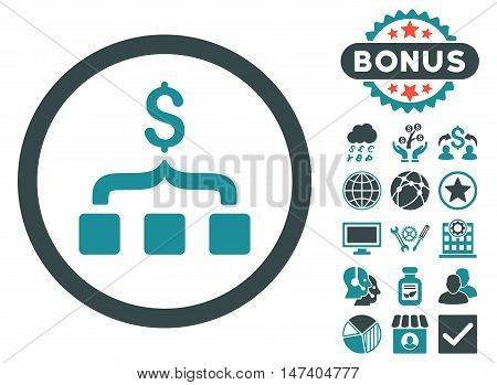 Collect Money icon with bonus symbols. Vector illustration style is flat iconic bicolor symbols, soft blue colors, white background.