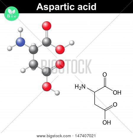 Aspartic acid - main amino acid and neurotransmitter chemical model and molecular formula 2d and 3d illustration vector eps 8