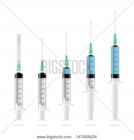 Empty medical syringes and syringes with drug solution in a row 3d vector illustration isolated on white eps 10