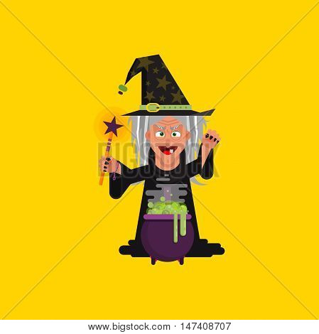 Stock vector illustration a witch conjures at a cauldron with brew, character for halloween in a flat style