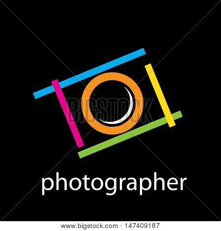 Vector sign camera for photographer, isoladet on white