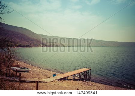view of Gangplank on water at Lake Laguna de Apoyo Nicaragua