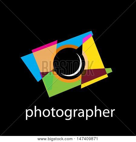 Vector abstract sign photographer, isoladet on black