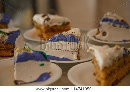 birthday cake portions on plates in detail