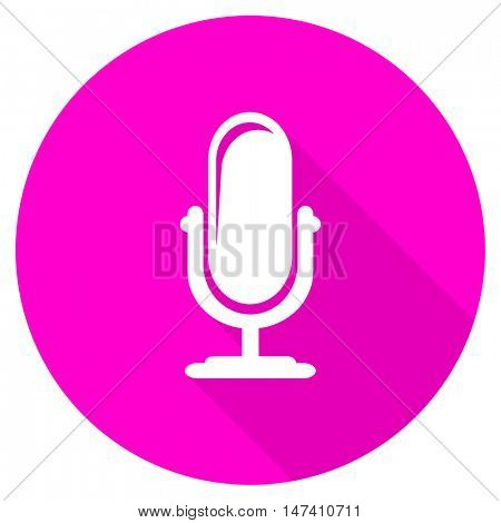 microphone flat pink icon