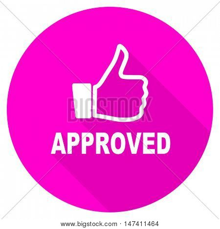 approved flat pink icon