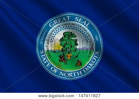Flag of North Dakota is the state in United States. 3D illustration