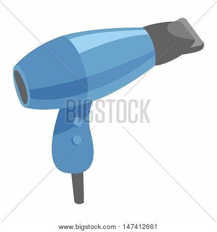 Fashion hairdryer tool and electric hair dryer care barber symbol vector. Hair Dryer tool and accessory to create beautiful hair flat vector icon.