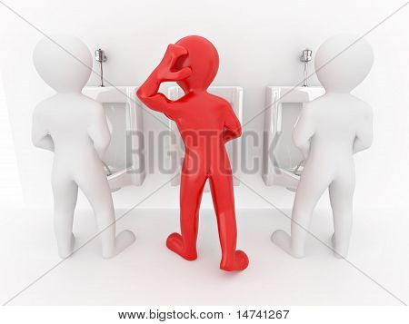 Men With Urinal Ob White Isolated Background