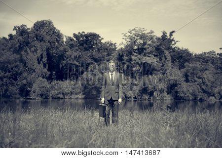 Green Businessman Environmental Conservation Businessman Standing Concept