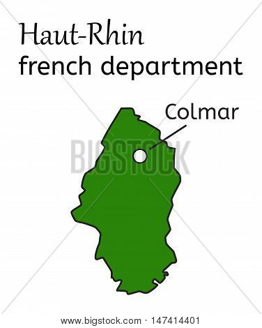 Haut-Rhin french department map on white in vector