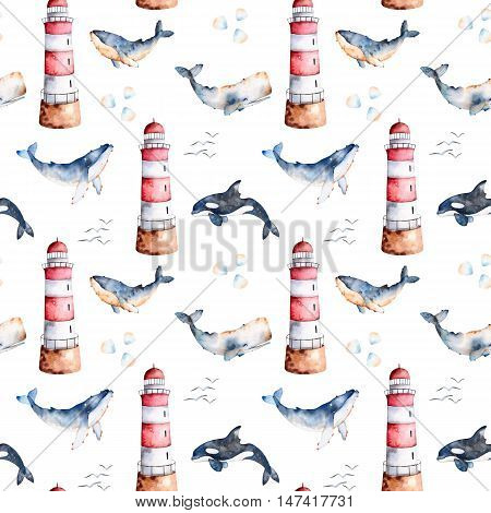 Seamless pattern with high quality handpainted watercolor whales,seashells and lighthouse in pastel colors.
