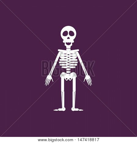 Stock vector illustration a skeleton for halloween in a flat style