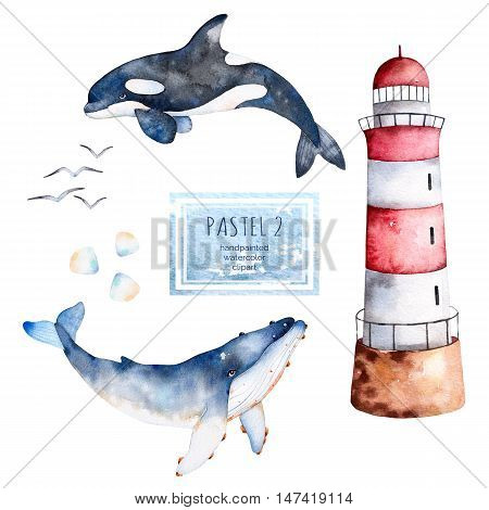 Watercolor handpainted whales,seashells and lighthouse in pastel colors.