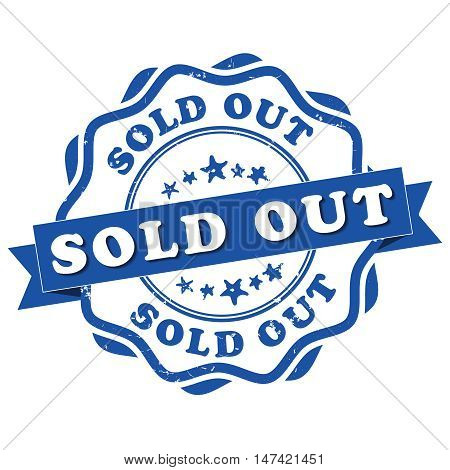 Sold out - grunge blue sticker / label. Print colors used