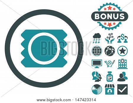 Condom icon with bonus pictogram. Vector illustration style is flat iconic bicolor symbols, soft blue colors, white background.