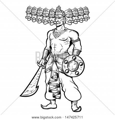 India God with ten goals. Ravana holding a sword and shield.