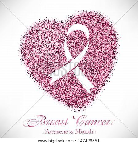 Shape of heart from pink glitter with ribbon inside. Breast Cancer awareness month on white background. Vector illustration