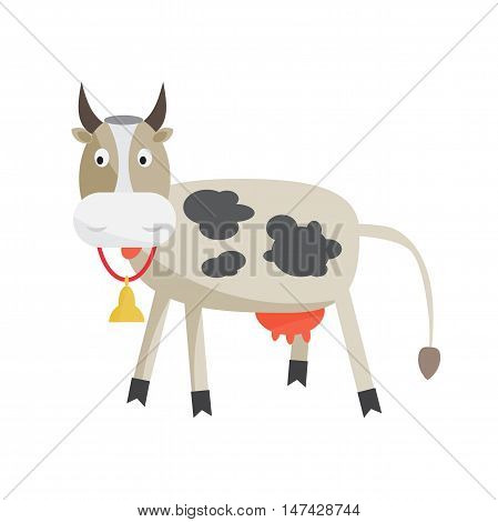 Cow with a bell around his neck. Cattle-breeding, the production of milk and beef. Cartoon flat isolated vector illustration