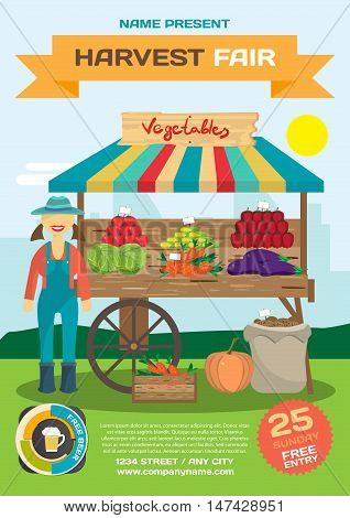 Vegetables trade fair flyer. Agriculture exhibition poster. Farmer woman produce shopkeeper. Fresh  vegetables, retail business owner working in his store. Cartoon flat vector illustration