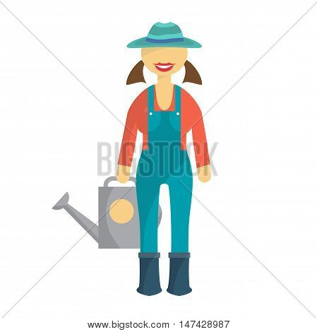 Woman farmer in denim overalls and a hat with a watering can in hand. Cartoon flat isolated vector illustration