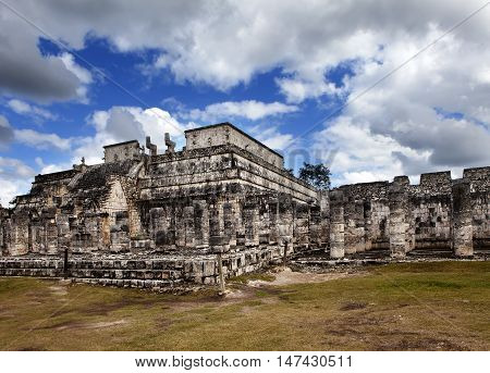 Hall of the Thousand Pillars - Columns at Chichen Itza Mexico
