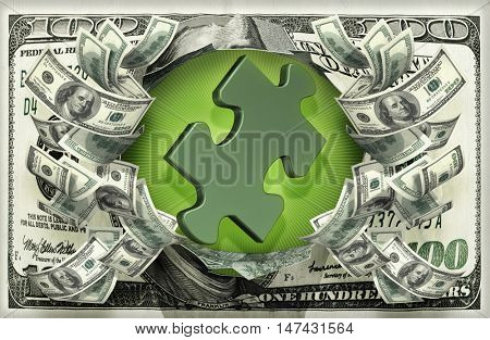 Puzzle With Money 3D Illustration