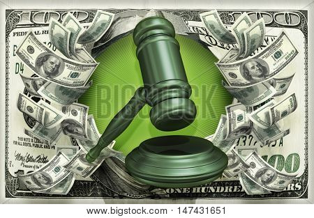 Gavel With Money 3D Illustration