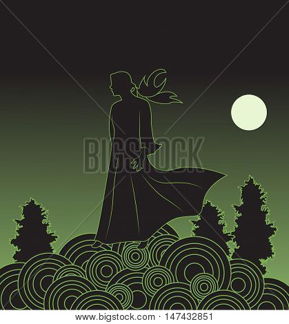Girl moonlight night stands alone on a hill. Vector illustration