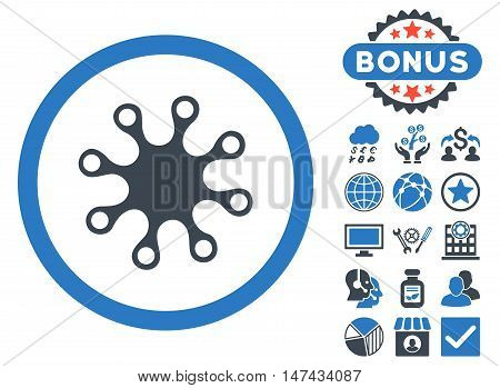 Axenic icon with bonus design elements. Vector illustration style is flat iconic bicolor symbols, smooth blue colors, white background. poster